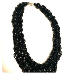 Black statement beaded necklace